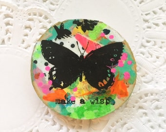 Make A Wish, Uplifting, Inspirational, Affirmation, Birch Wood Mixed Media abstract Embellishment, Christmas Gift