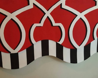 Red, Black and White Geometric Modern Layered Shaped Swag Valance - stripes