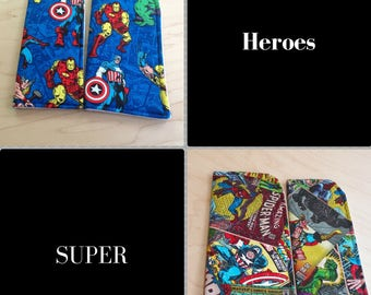Superheroes Blue or Tan Sunglass Case or Eyeglass Case Slide in Pouch Choose Your Size and Color