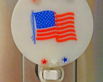 Flag Night Light - Red, White, Blue Flag & Stars Night Light - Americana Nightlight Ready to Ship