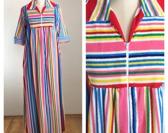 70s Rainbow Striped Terry Short Sleeve Maxi Length Robe or Swim Cover Up, XL to Plus Size