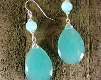 Chalcedony & Sterling Earrings, Light Blue Gemstone, Gemstone Jewelry, Long Dangles
