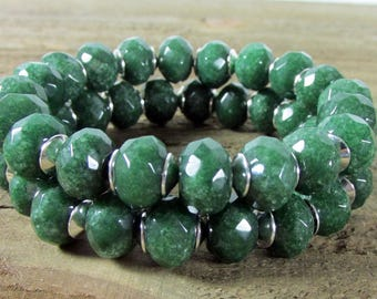 Green Garnet Stretch Bracelet Set, Dark Green Bracelet, Chunky Green Bracelet, Gemstone Bracelet