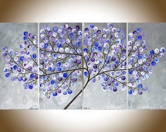 """Original art Abstract art painting on canvas Colorful art Gray violet purple swirl leave tree canvas art """"Lavender Dreams 2"""" by qiqigallery"""