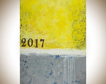 """yellow grey Abstract modern abstract art Original painting home office wall art wall decor wall hanging """" sunshine 2017"""" by qiqigallery"""