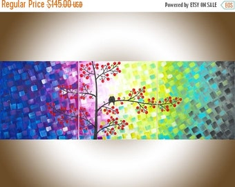 """Rainbow love birds painting contemporary Wall art wall decor wall hanging hom office canvas art """"Centre of My Heart"""" by qiqigallery"""