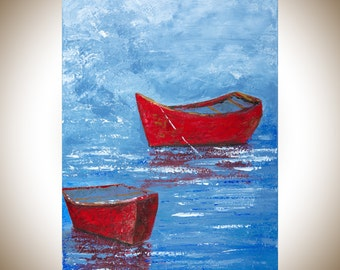 "Boat Painting seascape blue grey red white Original artwork wall art gift for him gift for dad ""Calm Water"" by qiqigallery"