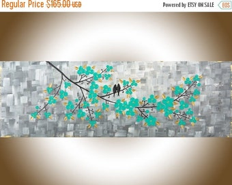 """Colorful modern abstract painting grey aqua green Impasto love Birds Wall Art canvas art """"A Garden Full of Beauty of Spring"""" by QIQIGALLERY"""