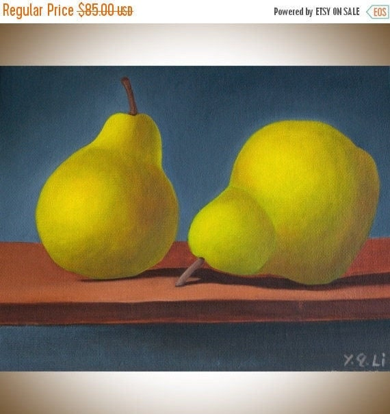 """Kitchen art Still life ORIGINAL Oil painting wall decor wall art """"Two Pears""""  by QiQiGallery"""