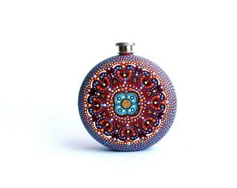 Round  Flask: Hand Painted 10 fl oz Stainless Steel flask Wedding gift Groomsman Groom Red blue hand painted flask