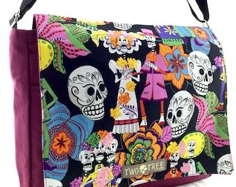 Burgundy and Black Dia de Los Muertos Fiesta MESSENGER Book Laptop Diaper Bag