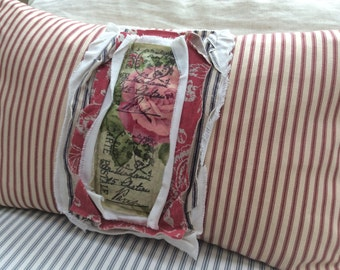 PaRiS French ReD Pillow Ticking FEATHER Down Cottage Shabby Chic Distressed 12x20 Insert