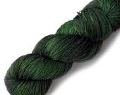 Euro Fingering Yarn 820 yards Handdyed Superwash Merino - Bottle Green