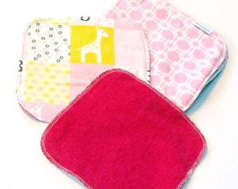 8 by 8 inch Serged Cloth Wipes/Washcloths - Girly Mix - Flannel/Baby Terry- set of 5 with hot pink Terrycloth
