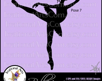 Ballerinas Silhouettes Pose 7 - with 1 EPS & SVG Vinyl Ready files and 1 PNG digital file and commercial license [Instant Download]
