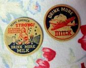 Vintage Rare War Time Milk Bottle Caps, Drink More Milk, Make America Strong, War Plane, Dairy Ephemera