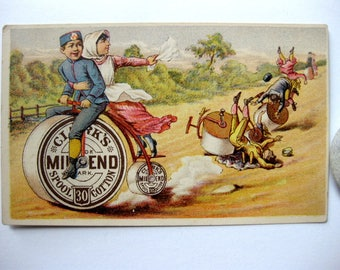 Vintage Victorian Thread Trade Card, Clarks Mile End Spool 30 Cotton, Spool Bicycle