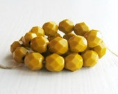 Czech Glass Beads - 25 Opaque Goldenrod Faceted 6mm Rounds