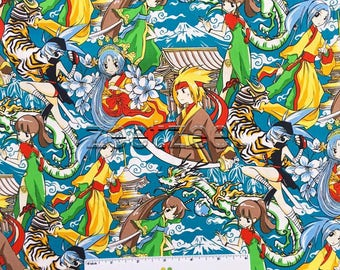 ANIME CHARACTERS Teal Blue Asian Manga Quilt Fabric - by the Yard, Half Yard, or Fat Quarter Fq Sakura Japanese Dragon Tiger Tomodachi