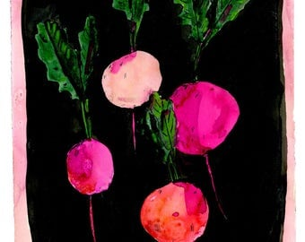 Rainbow Radishes, painting on paper