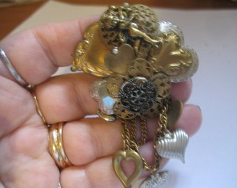 G E Wilson Designs Vintage Brass Hearts Collage  Filigree Pin with Swag Dangles