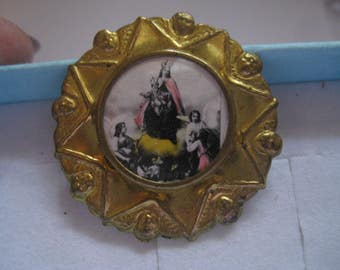 Antique Religious Tin Pin with C Clasp Mother and Child