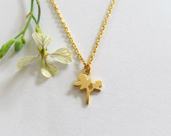 Delicate Branch Pendant Gold Necklace, Nature Inspired Necklace, Minimalist Charm Necklace, Girls Jewelry, Matte Gold Necklace - Tamar Bar