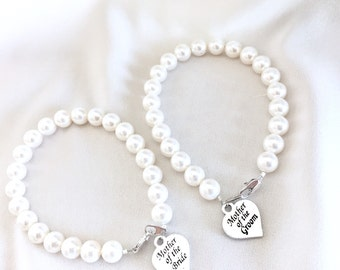 2 Mother of the Bride Pearl Strand Bracelet, Mother of the Groom Wedding Gift Memorable Jewelry
