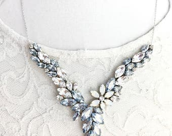 Blue Grey and White Opal Rhinestone necklace, garden necklace, leaf vine floral Rhinestone Bridal Necklace, wedding Necklace, jeweled ASPEN