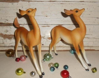 Vintage Plastic Deer, Vintage Christmas Deer, Christmas Decor, Pair of Deer