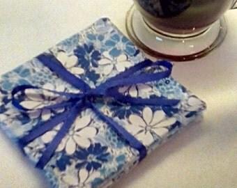Mug Rug SET of 4, Blue Flowers, Fabric Coasters, Handmade, Hostess Gift, FREE Shipping in US