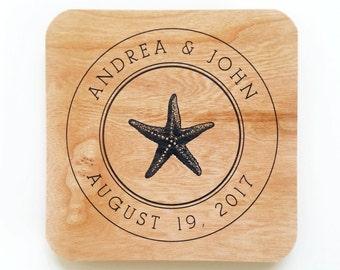 Wood Veneer Wedding Coasters - Custom Printed Andrea & John Navy Starfish Personalized Wedding Reception Bridal Shower Coasters