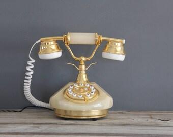 Vintage Italian Sitel Telephone White Marble Onyx Stone Gold Tone