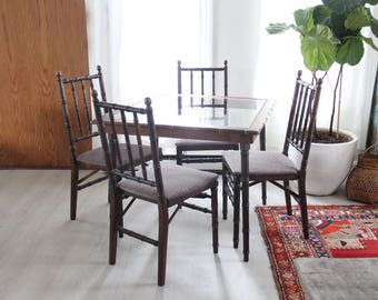 Mid Century Modern Stakmore Folding Chairs & Glass Dining Table