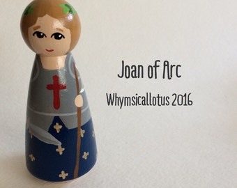 St. Joan of Arc Wooden Peg Doll Wooden Doll Catholic Confirmation Gift Patron Saint