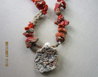 Journey Talisman Necklace with Coral, Fossil, Rudraksha Seed Beads and Metaphysical Fulgurite  free shipping