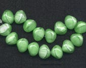 Vintage Green & White Beads 16mm Bright Opaque Color Made in W. Germany 16 Pcs.