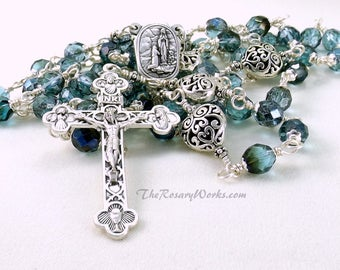 Lourdes Holy Water Rosary St Bernadette Blue Aqua Teal Czech Beads Hearts Catholic Traditional 5 Decade Unbreakable Wire Wrapped