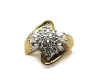 14k Gold Diamond Ring - Retro, Starburst, .50 DTW, Cocktail Ring