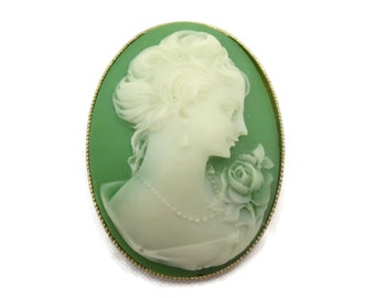 Cameo Brooch - Gold Tone Frame - Green and White