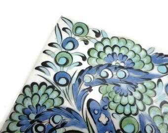 Painted Ceramic Trivet - Blue Green Floral, Vintage Kitchen, Greece
