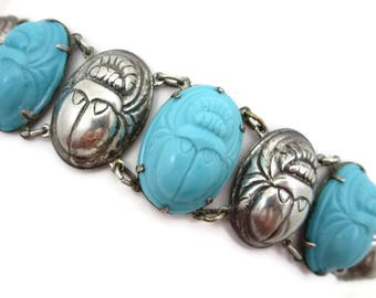 Scarab Bracelet - Turquoise Blue Glass and Repousse Silver Tone Metal, Egyptian Revival Costume Jewelry
