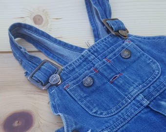 Vintage Kids Overalls  // Vtg JC Penney BIG MAC for Toddlers Distressed Faded Denim Overall  // unisex childrens size 2T / 3T