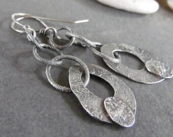 Sale-Rustic Boho Dangle OOAK Sterling Silver-Hoop Artisan Earrings.