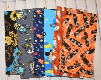 """Set of 6 8"""" Mixed Boys Flannel Cloth Napkins  Lunchbox /Luncheon Set 82"""