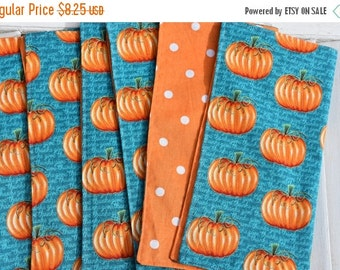 "SALE 10% OFF SALE 10 Percent Off Set of 4  12"" 2 ply  Cotton Cloth Napkins Give Thanks Pumpkin Print"