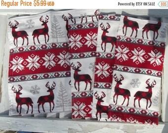 "SALE 10% OFF Set of 4  12"" Single Ply Flannel Cloth Napkins Nordic Deer Print"