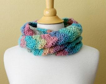 Crocheted Multicolored Chevron Scarf. Rainbow. Cowl.