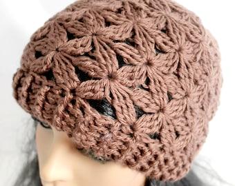 Crocheted Jasmine Flower Beanie. Adult. Hat.
