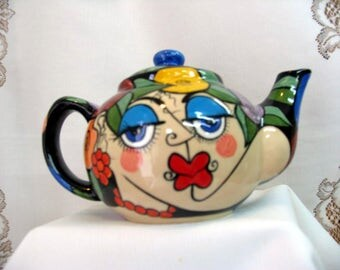 Ceramic Teapot Picasso Style Lovers Faces Multi colored Impressionistic flowers on Etsy